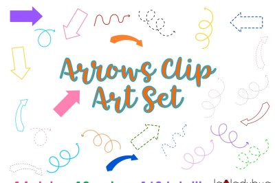 Arrows clip art set. PNG Files. 168 arrows total. 12 colors, 14 styles