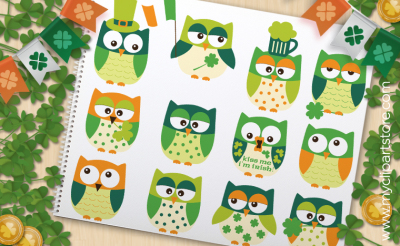 St. Patrick's Day Owls - Vector Clipart