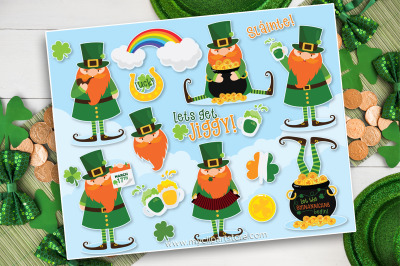 St. Patrick's Day Clipart, Leprechaun Clipart, Vector, Sublimation, SV