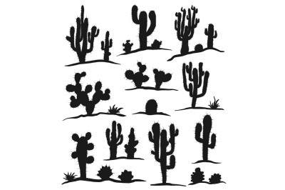 Vector Cacti Set Isolated on White