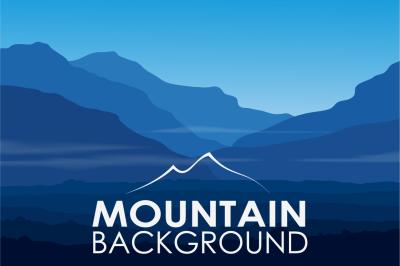 Landscape with huge blue mountains