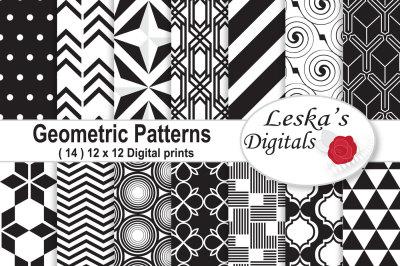 Black and White Digital Paper - Geometric