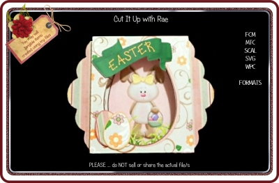 429 Easter Bunny Card  HAND and MACHINE Formats