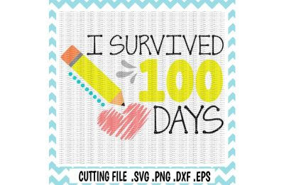 100 days of School Svg, I Survived 100 Days, Svg, Png, Eps, Dxf, Cutting Files for Cameo/ Cricut & More.