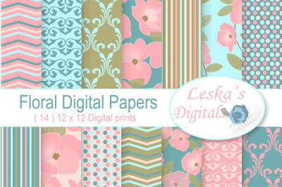 Floral Digital Paper - Flowers and Patterns