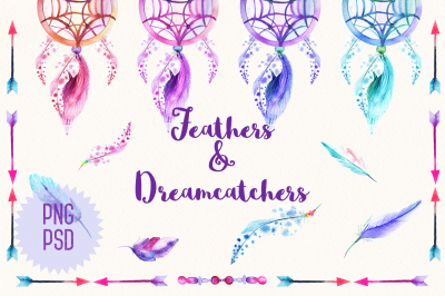 Watercolor feathers & dreamcatchers