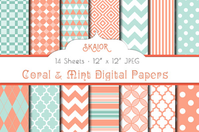 Coral and Mint Digital Papers