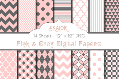 Pink and Grey Digital Papers