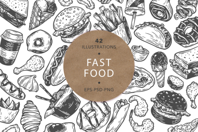 Fast Food. Vector Illustrations