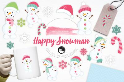 Happy Snowman graphics and illustrations