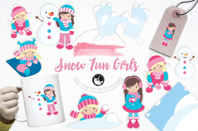 Snow Fun Girls graphics and illustrations