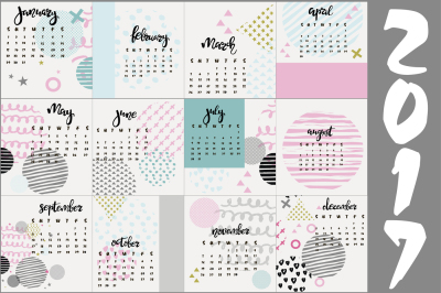 Calendar 2017 in memphis style