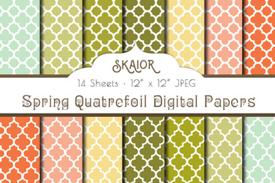 Spring Quatrefoil Digital Papers