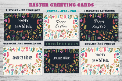 Happy Easter Cards Collection EN+FR