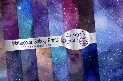 Watercolor Galaxy Prints, Digital Paper