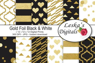 Black and Gold Digital Paper Pattern