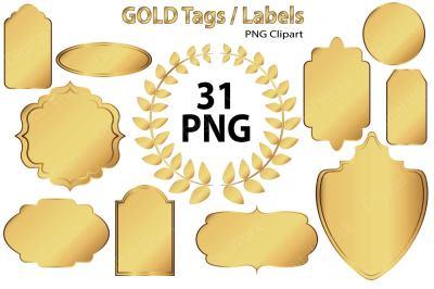 Gold Clip Art - Tags / Labels