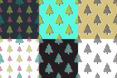 Seamless patterns pine tree collection