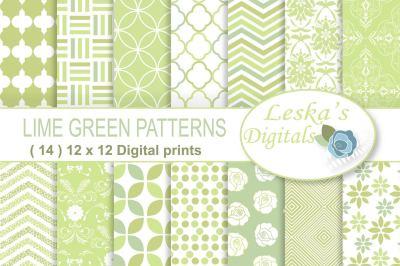 Lime Green Digital Paper Patterns