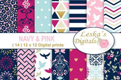 Navy Pink & Gold Digital Paper