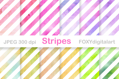Watercolor Stripes Digital Paper Scrapbook