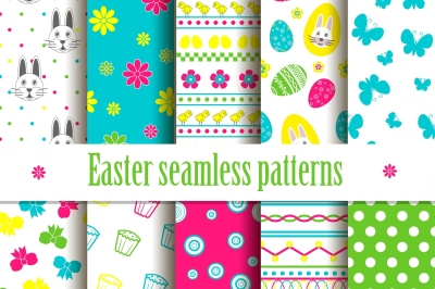 Easter bright seamless patterns
