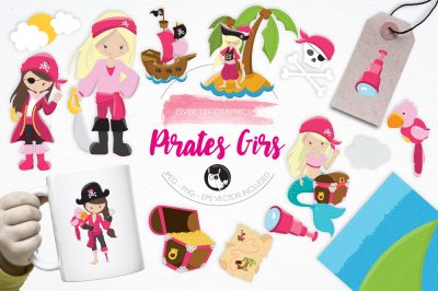 Pirates Girls graphics and illustrations