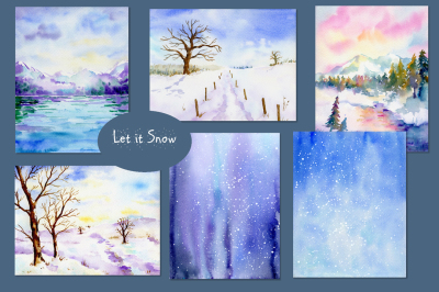 Watercolor Background Let It Snow