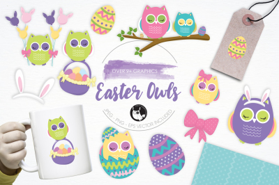 Easter Owls graphics and illustrations