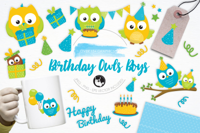Birthday Owls Boys graphics and illustrations