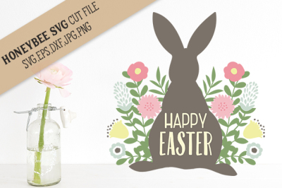 Happy Easter Bunny Flowers cut file
