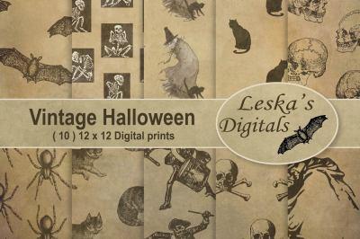 Vintage Halloween Digital Paper