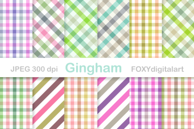 Gingham Digital Paper Pack Scrapbook Checkerboard Tablecloth