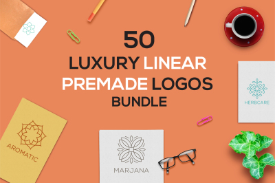50 Luxury Linear Premade Logo Pack