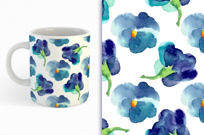 Watercolor seamless patterns with  violets.