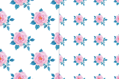 Watercolor seamless patterns with roses.