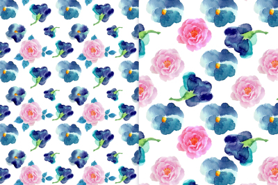 Watercolor patterns with violets and roses.