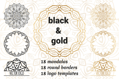 Black and Gold. Round ornaments