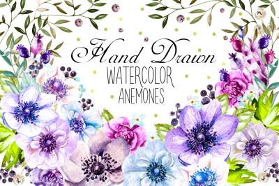 Hand Drawn Watercolor Anemones