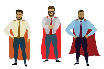 Set three business superhero