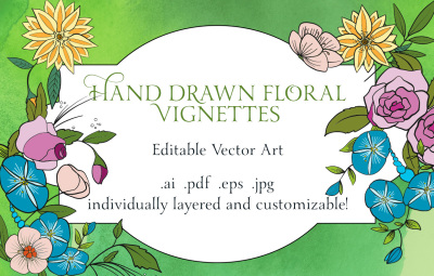 Hand Drawn Vector Flowers