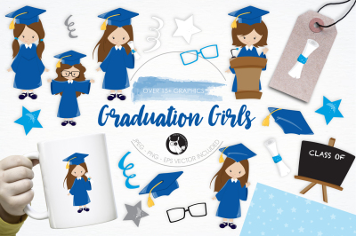 Graduation Girls graphics and illustrations