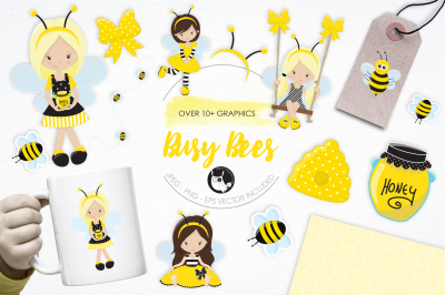 Busy Bees graphics and illustrations
