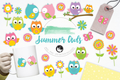 Summer Owls graphics and illustrations