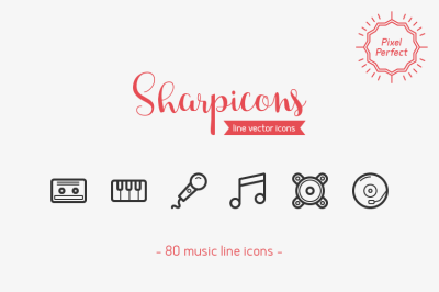80 Music Line Icons - Sharpicons