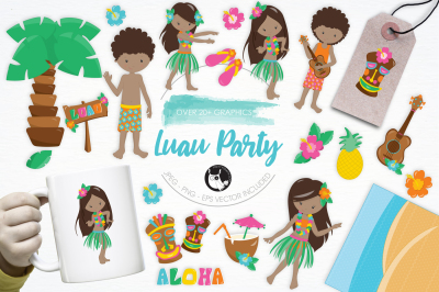 Luau Party graphics and illustrations