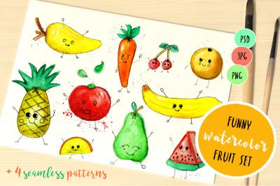 Set funny watercolor fruits