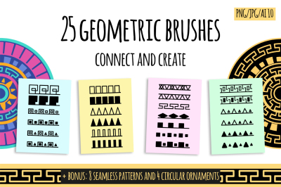 25 geometric brush fore Photoshop and Illustrator