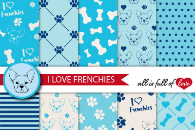 I Love Frenchies Digital Paper Pack French bulldog background blue patterns to print Pet digital scrapbook