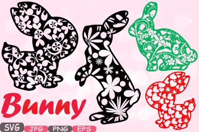 Easter bunny Flowers and hearts Silhouette